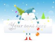 Le père noël bleu avec l'arbre de Noël Photographie stock