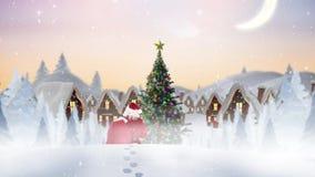 Le père noël dans le paysage d'hiver combiné avec la neige en baisse clips vidéos