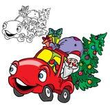 Le Père noël dans un véhicule avec l'arbre de Noël Image stock