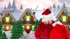 Le père noël devant les maisons décorées dans le paysage d'hiver combiné avec la neige en baisse illustration stock