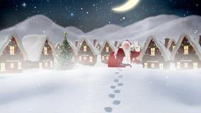 Le père noël devant les maisons décorées dans le paysage d'hiver combiné avec la neige en baisse illustration de vecteur