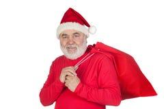 Le père noël drôle avec le sac rouge Images libres de droits