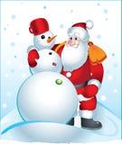 Le père noël et bonhomme de neige illustration de vecteur