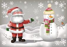 Le Père noël et bonhomme de neige Images libres de droits