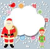 Le père noël et elfe avec la bulle de la parole Images libres de droits