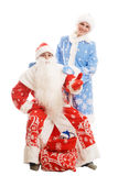 Le père noël et fille de neige Images libres de droits