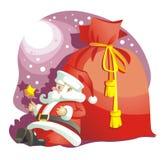 Le père noël et sac avec des gifts_Christmas Images stock