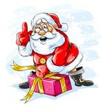 Le père noël gai ouvrant un cadre de cadeau de Noël illustration libre de droits