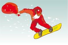 Le père noël heureux sur le snowboard Photo libre de droits