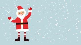 Le père noël ondulant gaiement des mains sur un fond avec la neige illustration stock