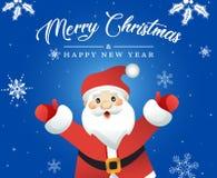 Le père noël peint à la main Carte de Noël Photographie stock libre de droits