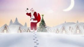 Le père noël sonnant une cloche dans le paysage d'hiver combiné avec la neige en baisse clips vidéos