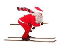 Le père noël sur des skis Photographie stock