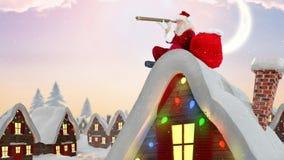Le père noël sur le dessus de toit d'une maison décorée combinée avec la neige en baisse clips vidéos