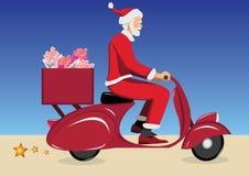 Le père noël sur le scooter Photos libres de droits