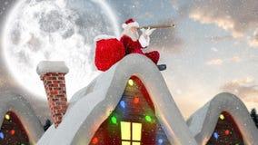 Le père noël sur un toit dans le paysage d'hiver combiné avec la neige en baisse illustration stock
