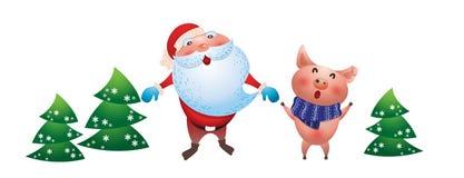 Le père noël, symbole porcin de nouvelle année sur le fond blanc illustration libre de droits