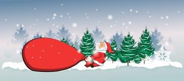 Le père noël traîne un sac rouge énorme avec des cadeaux sur la neige à l'arrière-plan illustration de vecteur