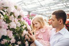 Le père tient une fille de bébé dans le jardin de floraison Images libres de droits