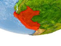 Le Pérou en rouge sur le modèle de la terre Image stock