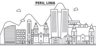 Le Pérou, ligne de Lima illustration d'architecture d'horizon Paysage urbain linéaire de vecteur avec les points de repère célèbr illustration libre de droits