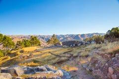 Le Pérou, Qenko, situé au parc archéologique de Saqsaywaman. Amérique du Sud. images libres de droits