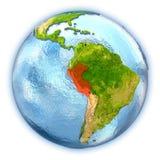 Le Pérou sur le globe d'isolement illustration de vecteur
