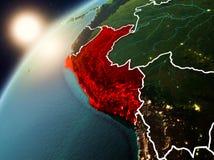 Le Pérou sur terre de planète dans le coucher du soleil Photo libre de droits