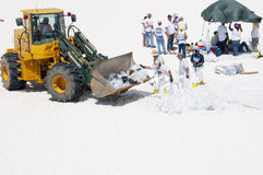 Le pétrole lave à terre en plage de Pensacola Photographie stock
