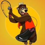 Le pêcheur d'ours de personnage de dessin animé a attrapé la botte d'amorce Images libres de droits