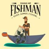 Le pêcheur de bande dessinée se tenant dans le chapeau et le filet de tractions sur le bateau hors de l'eau, fishman heureux juge Image stock