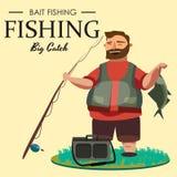 Le pêcheur heureux tient et tient la canne à pêche disponible avec la rotation et le crochet de poissons, le sac avec la rotation Photos stock