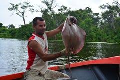 Le pêcheur montre un rayon de manta dans le lac maracaibo, Venezuela Image stock
