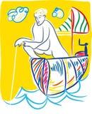 Le pêcheur pêche illustration de vecteur
