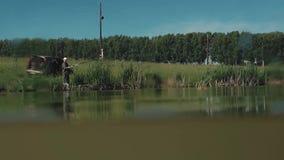 Le pêcheur retire la canne à pêche avec les poissons pêchés banque de vidéos