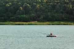 Le pêcheur seul Photographie stock