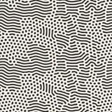 Le pêle-mêle arrondi organique noir et blanc sans couture de vecteur raye Maze Pattern Image stock