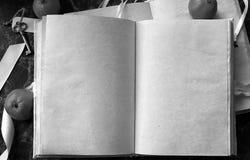Le pagine in bianco hanno aperto il libro d'annata sulla tavola Immagini Stock