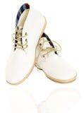 Le paia delle scarpe di tela d'avanguardia isolate sulla vista frontale bianca riflettono Fotografia Stock Libera da Diritti