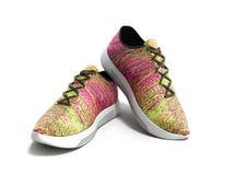 Le paia delle scarpe rosa 3d di sport rendono su fondo bianco Immagine Stock