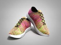Le paia delle scarpe rosa 3d di sport rendono su fondo grigio Fotografie Stock