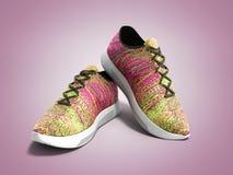 Le paia delle scarpe rosa 3d di sport rendono sul fondo di colore Fotografia Stock