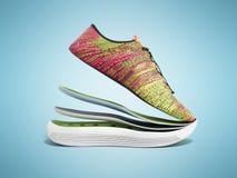 Le paia delle scarpe rosa di sport dagli strati 3d rendono sul blu Immagini Stock