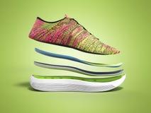 Le paia delle scarpe rosa di sport dagli strati 3d rendono sul fondo di colore Fotografia Stock