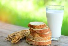 Le pain a coupé des morceaux avec le verre de lait sur la table en bois Images stock