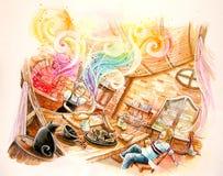 le pain d'arc-en-ciel de conte de fées malaxent l'illustration Image libre de droits