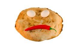 le pain eggs autour des légumes de sourire Image stock