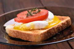 Le pain a grillé avec la tranche d'oeufs pochés et de tomate Image stock