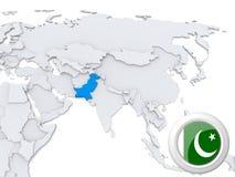Le Pakistan sur la carte de l'Asie illustration stock