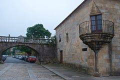 Le palais de Fefinans a été construit au XVIème siècle avec tour de guet crénelé à Cambados, Espagne image stock